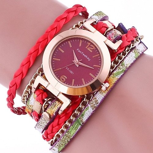 GENEVA RED/ MAROON LACE BUTTON WATCH BRACELET ROUGE/ MARRON Bracelet Watches Faux Leather Band Wrap Bracelet Watch