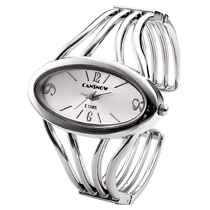 Womens Fashion Casual Silver Tone Analog Quartz Bangle Cuff Bracelet Wrist Watch, Unique Elegant Thin Metal Band Big Face Watches For Small
