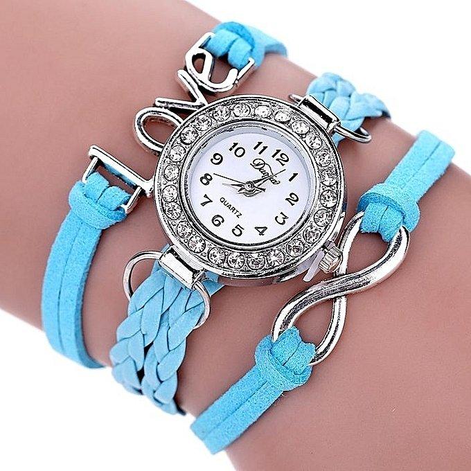 Bracelet Montre Quartz Love - Couleur Bleu Ciel