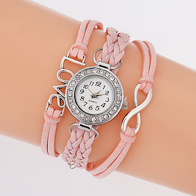 Bracelet Montre Quartz Love - Couleur Rose