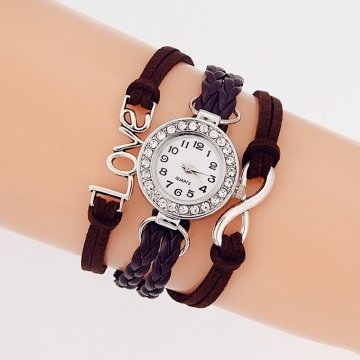 Bracelet Montre Quartz Love - Couleur Marron