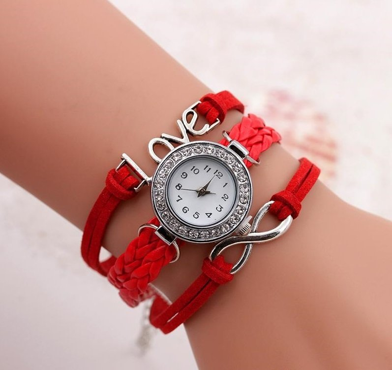 Bracelet Montre Quartz Love - Couleur Rouge