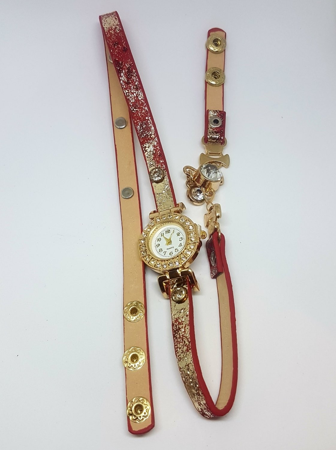 Bracelet Montre Quartz - Rouge/ Or - Red/Gold