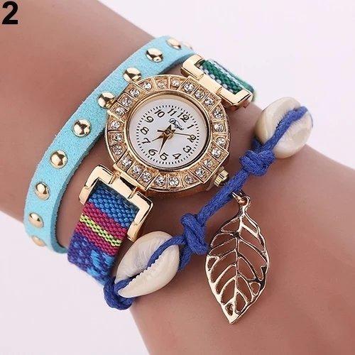 Montre Bracelet BLEU - Women Rivet Leaf Shell Braided Faux Leather Band Quartz Wrist Watch