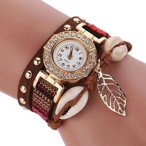 Montre Bracelet MARRON - Women Rivet Leaf Shell Braided Faux Leather Band Quartz Wrist Watch