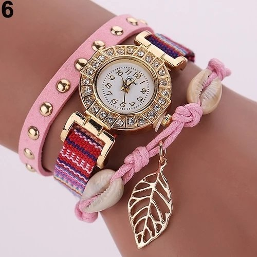 Montre Bracelet Rose Pale - Women Rivet Leaf Shell Braided Faux Leather Band Quartz Wrist Watch