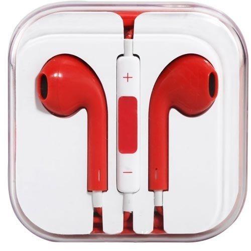 Headset Headphone Casque Ecouteur Ordinaire ROUGE avec Cable - iPhone ou Android Earpiece Earphone