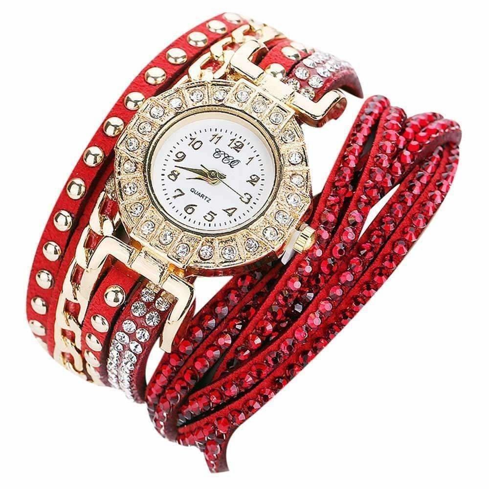 Bracelet Montre Quartz - ROUGE (CE MODELE PEUT VARIER)