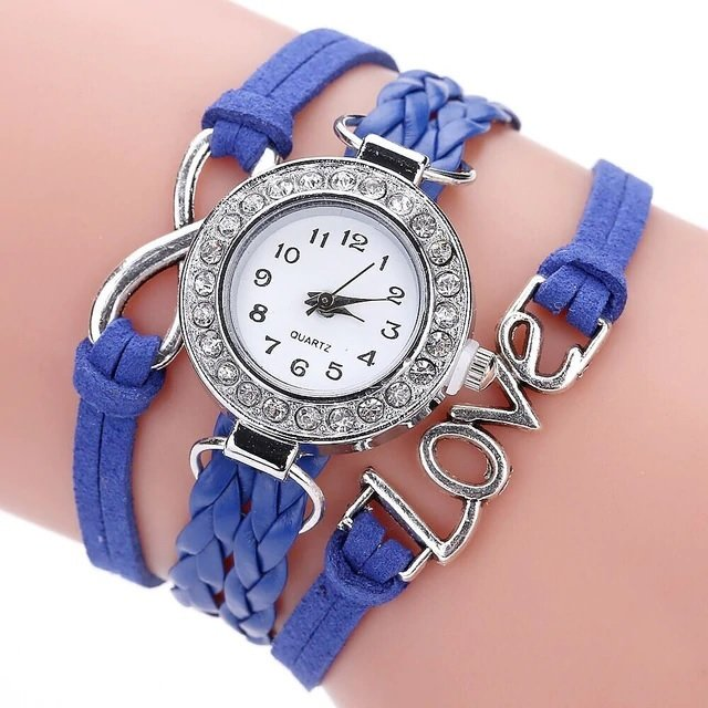 Bracelet Montre Quartz Love - Couleur Bleu Roi