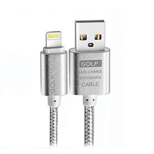 Quick Charge 5 Pin USB Cable - 1.5 Pied Metal Nylon Braided For Iphone 6, 6S, 7 & 7S Golf Design