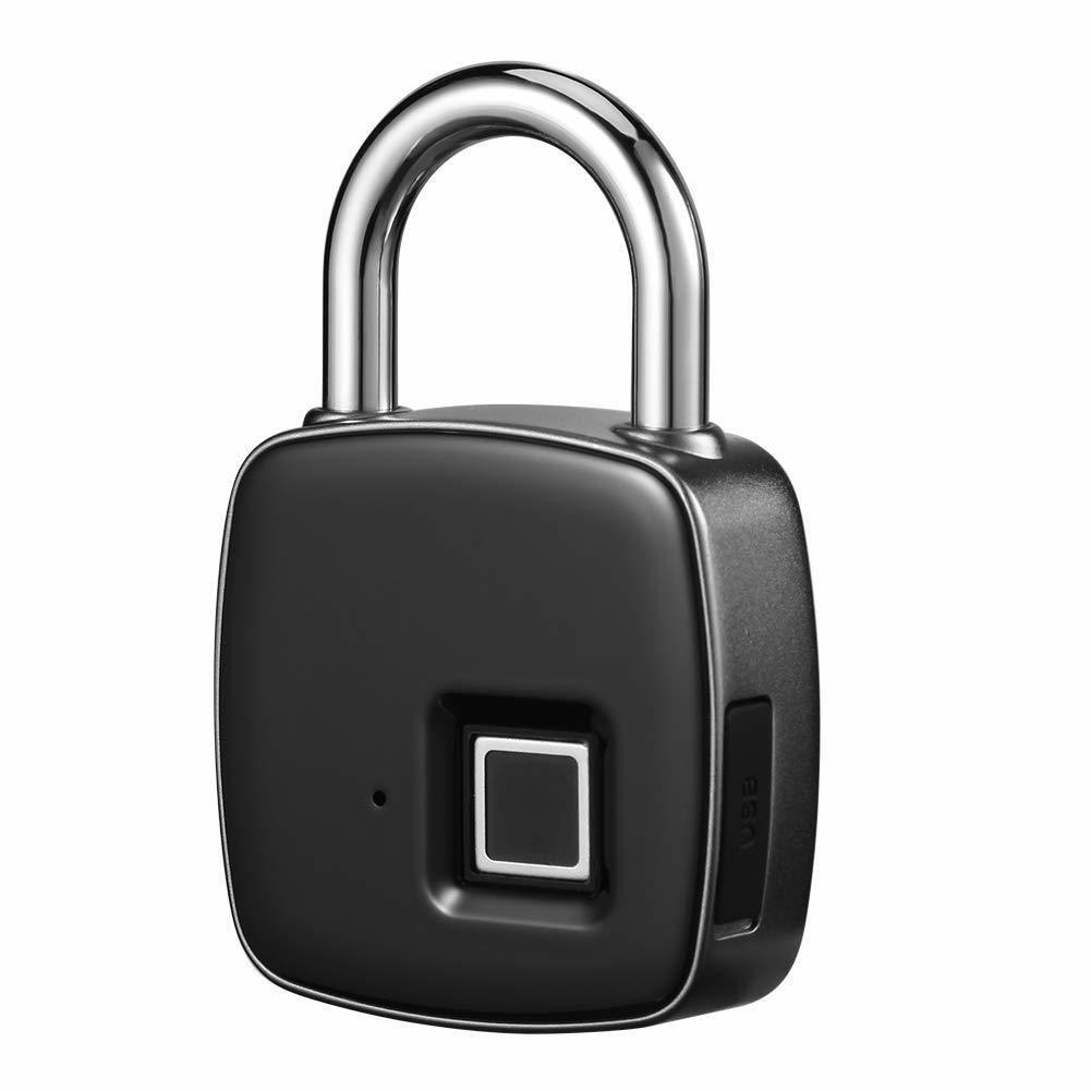 Cadena Emprinte Digitale Sans Cle Fingerprint Padlock Waterproof Anti-Vol -  Porte Casier Sac a Dos Cargo Bicyclette Baggages USB Charge Durable .