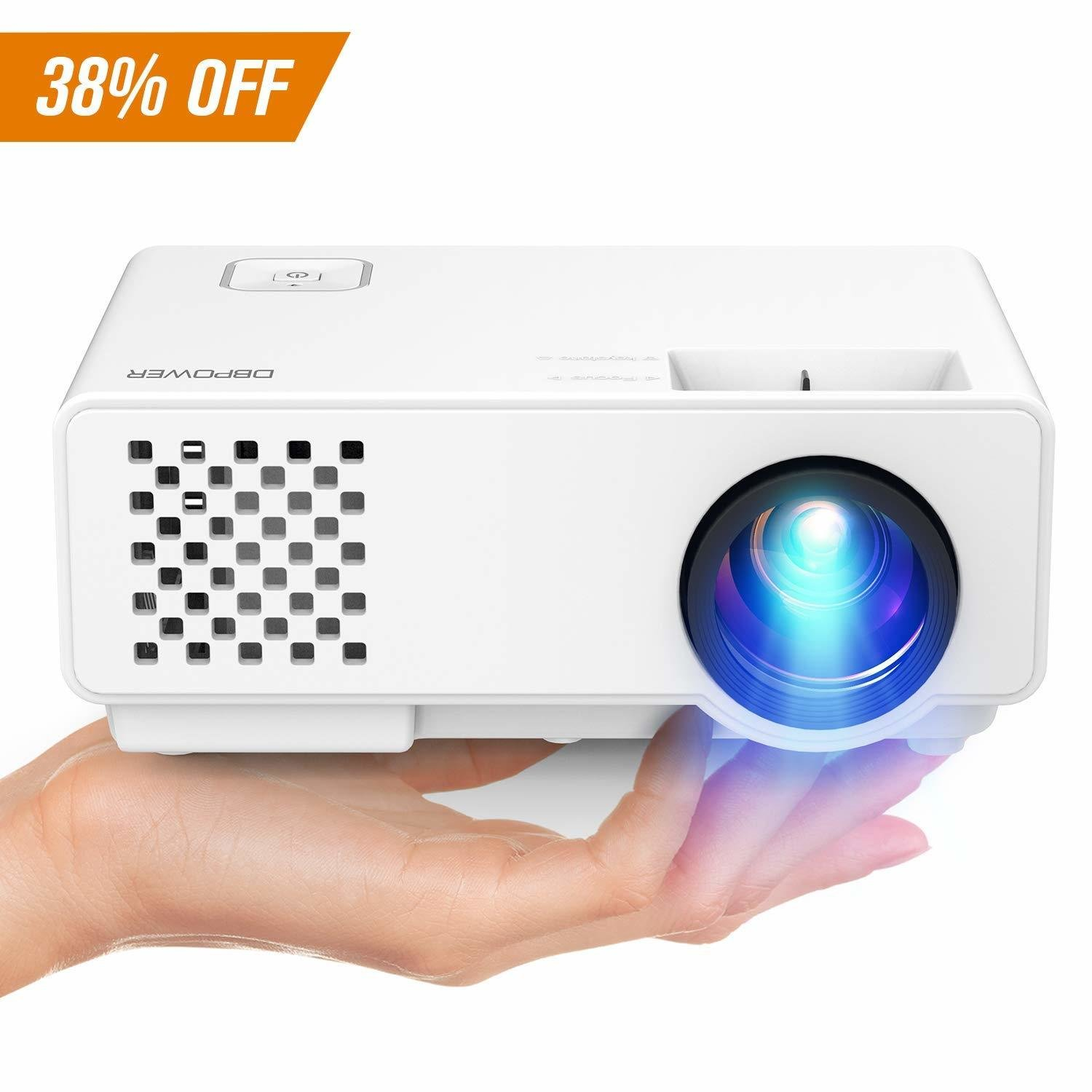 Projector, Upgraded DBPOWER Mini Video Projector, Multimedia Home Theater Video Projector Supporting 1080P, HDMI, USB, VGA, AV Home Cinema, TVs, Laptops, Games, Smartphones