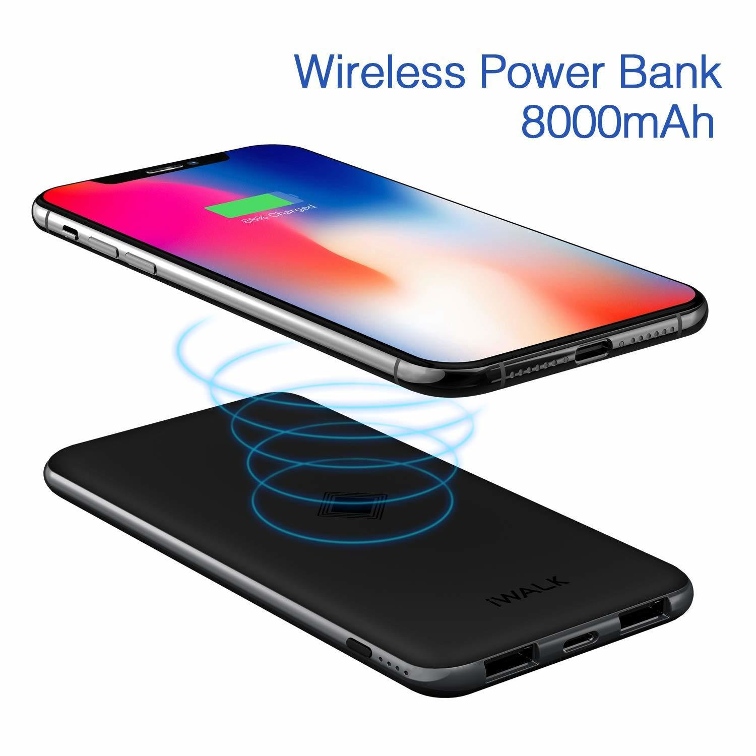 iWALK Qi Wireless Charger TYPE C - Dual USB Power Bank 8000mAh Slim Portable Charging Pad External Battery Pack Compatible iPhoneXS/X/8/8 Plus,Samsung Galaxy S
