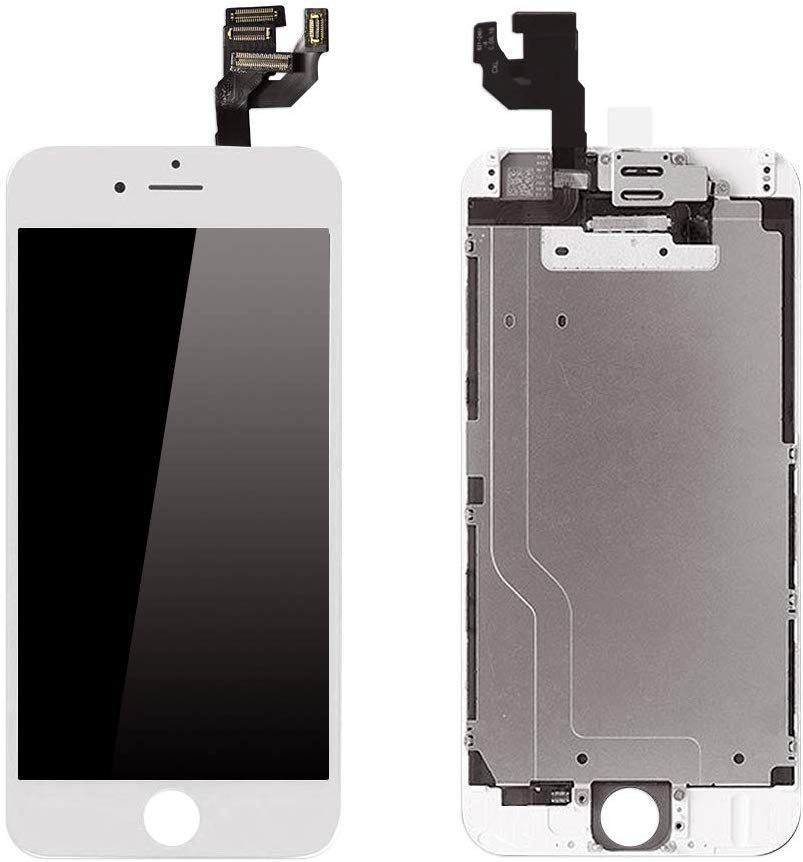 Screen Replacement Compatible for iPhone 6 6G LCD Screen Replacement White 4.7 Inch LCD Display Frame Touch Digitizer Full Assembly with Front Camera Earpiece and Tools Kit