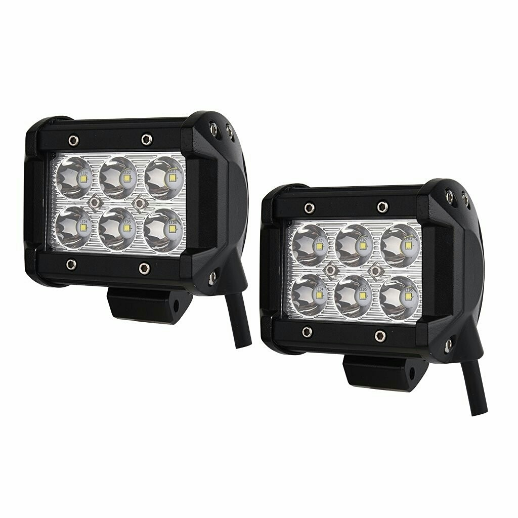 """Spot Light Waterproof Dimension 4"""" x 4"""" 18W pour Tout Vehicule (PAIRE) Spotlight"""