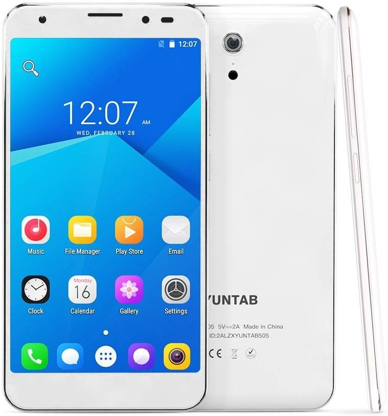 YUNTAB 5 Inch S505 Android 6.0 Unlocked Smartphone 4G LTE Quad-core 2GB / 32GB Touchscreen HD 720 x 1280 Dual SIM Slots Cellphone with Dual Camera GPS (S505-White)