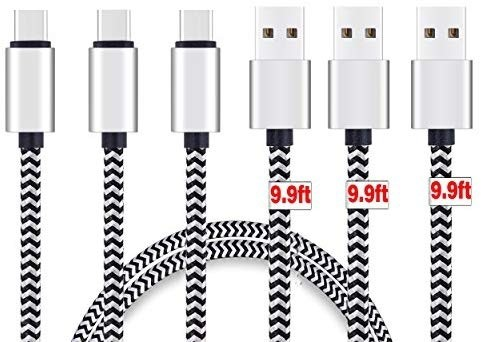 Cable 10 Pieds USB Type C Cable High Speed Type-C to USB A Sync & Charging Nylon Braided Cable for Smartphone & Tablets