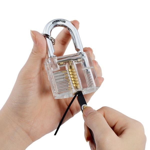 Transparent Practice Padlocks with 12pcs Unlocking Lock Pick Set Key Extractor Tool Lock Pick Tools Silver