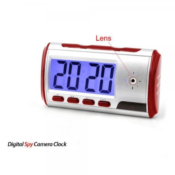 Digital Spy Alarm Clock with Hidden Camera + Motion Sensor Red BCE03138TM