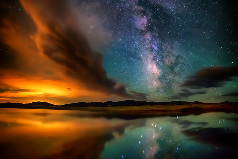 "32"" x 48"" Canvas Wrap of Eleven Mile Reservoir Milky Way, Colorado"