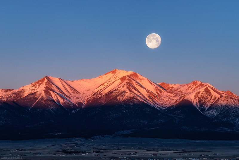 "20"" x 30"" METAL PRINT of Mount Princeton Moonset, Colorado"
