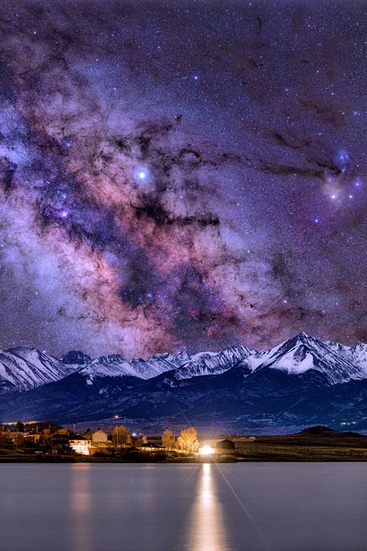 """24"""" x 36"""" METAL PRINT of DeWeese Reservoir Milky Way Westcliffe, Colorado"""