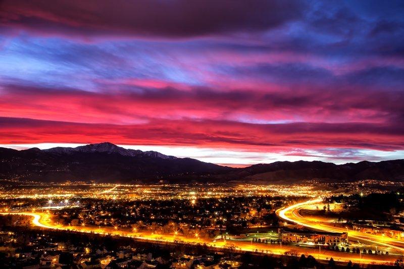 """20"""" x 30"""" METAL PRINT of Colorado Springs at Dusk, Colorado"""