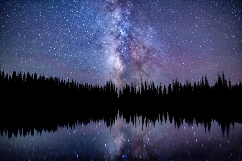 """20"""" x 30"""" METAL PRINT of Soundwaves - Milky Way and Tree Reflections, Wyoming"""