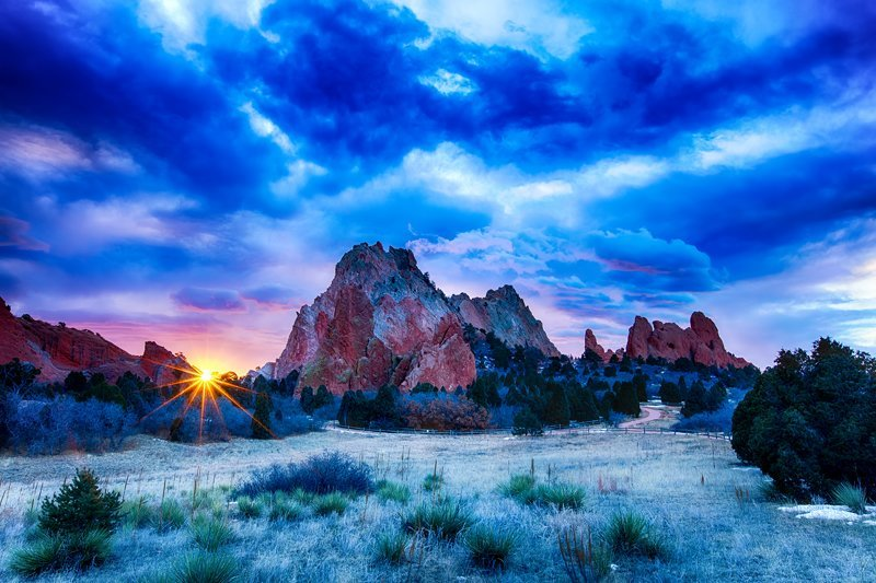 "20"" x 30"" METAL PRINT of Garden of the Gods Cloudy Sunrise, Colorado"