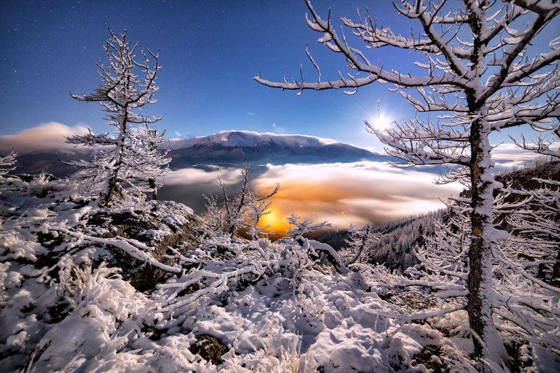 "20"" x 30"" METAL PRINT of Pikes Peak Winter Moonset, Colorado"