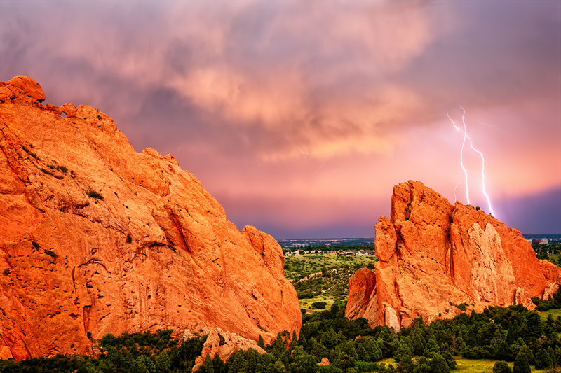 "20"" x 30"" METAL PRINT of Garden of the Gods Lightning, Colorado"