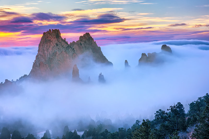 "20"" x 30"" METAL PRINT of Foggy Garden of the Gods Sunrise, Colorado"
