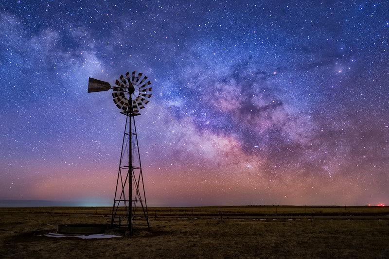 "20"" x 30"" METAL PRINT of Windmill with Milky Way, Colorado"