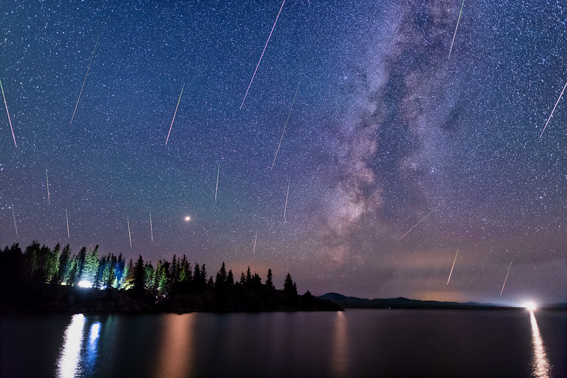 "20"" x 30"" METAL PRINT of Eleven Mile Reservoir Perseids with Milky Way, Colorado"