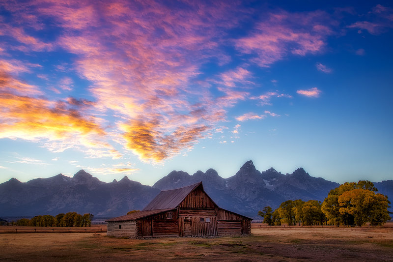 "20"" x 30"" METAL PRINT of Mormon Row Sunset Grand Teton National Park, Wyoming"