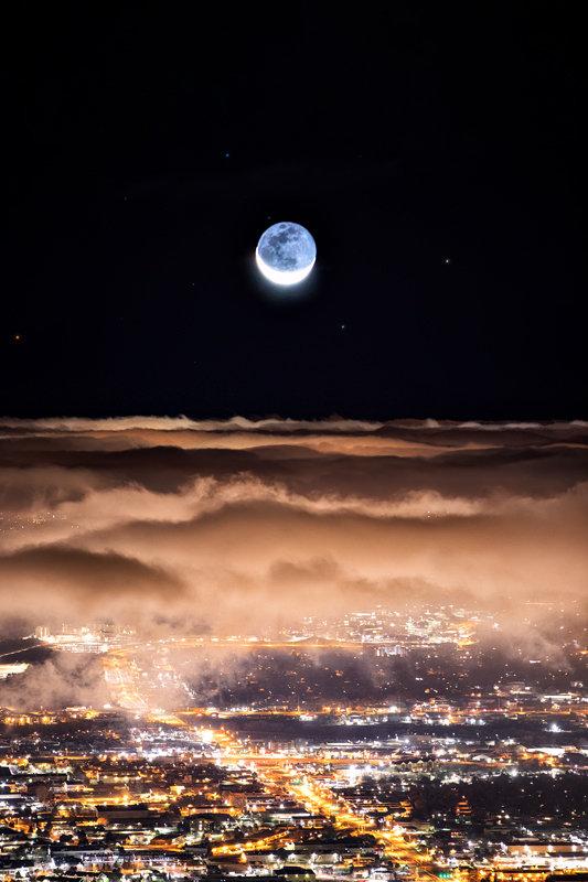 """12"""" x 18"""" METAL PRINT of Colorado Springs Moonrise, Colorado"""