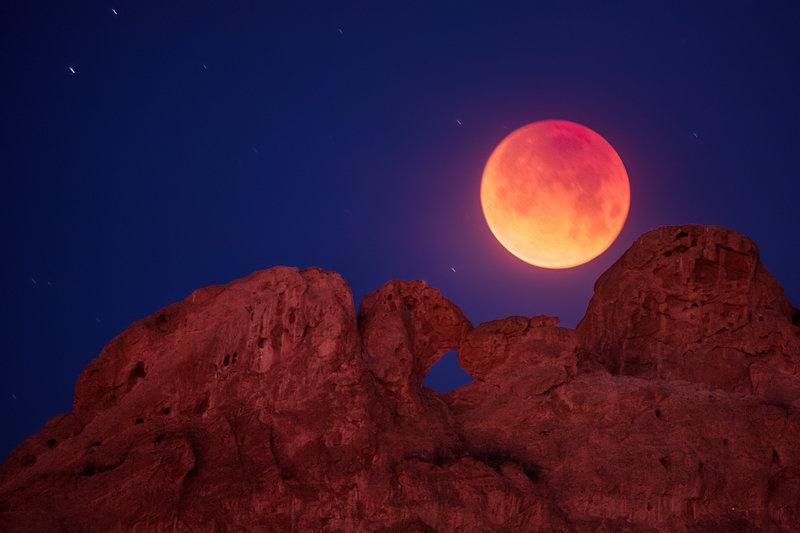 "12"" x 18"" METAL PRINT of Kissing Camels Blood Moon, Colorado"
