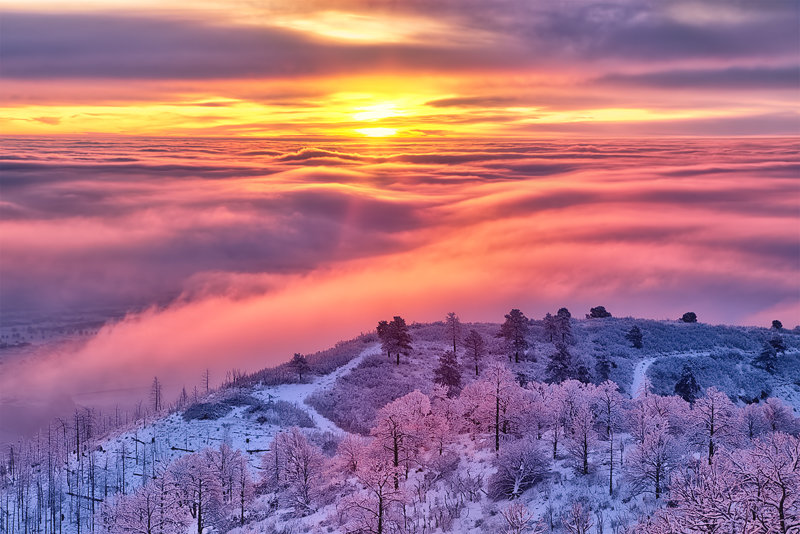 "12"" x 18"" METAL PRINT of Frozen Sunrise, Colorado"