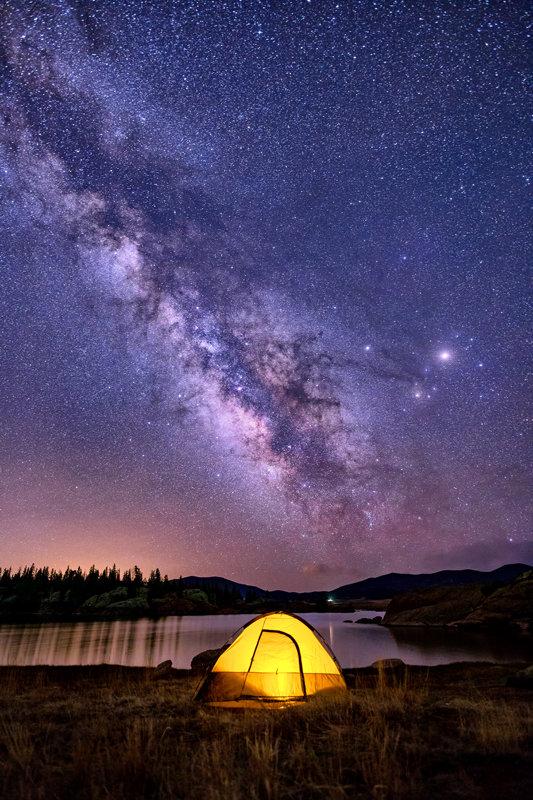 "12"" x 18"" METAL PRINT of Camping under Milky Way Eleven Mile Reservoir, Colorado"
