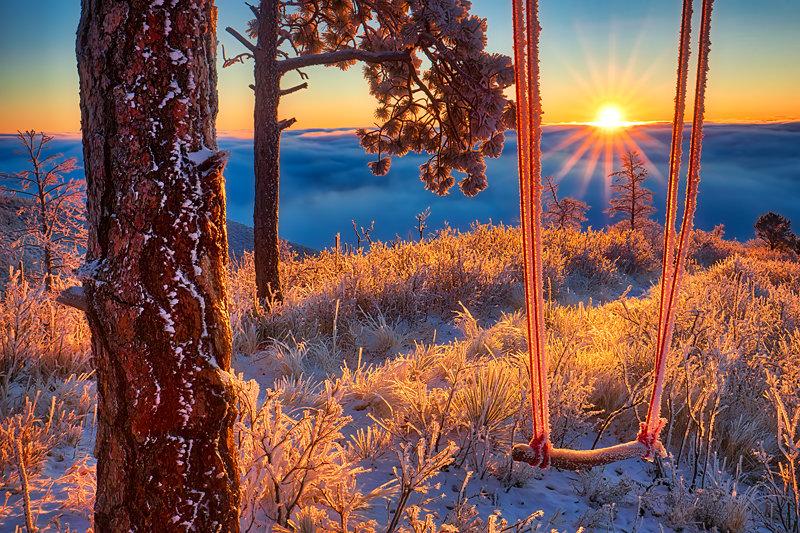 "12"" x 18"" METAL PRINT of Frozen Swing Sunrise, Colorado"