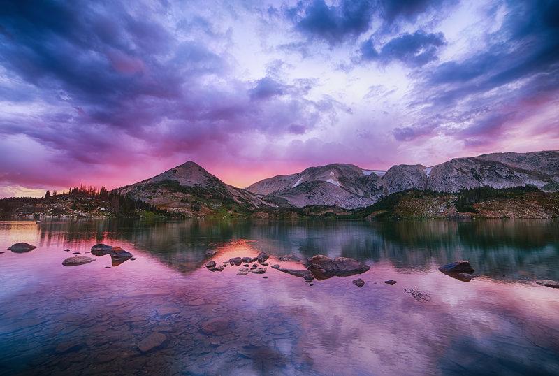 """12"""" x 18"""" METAL PRINT of Lewis Lake Snowy Range, Wyoming"""