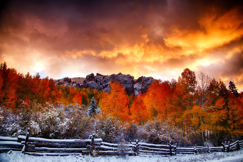 "12"" x 18"" METAL PRINT of Fall Foliage Sunrise, Colorado"