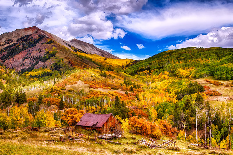 "12"" x 18"" METAL PRINT of Fall Foliage Barn, Colorado"