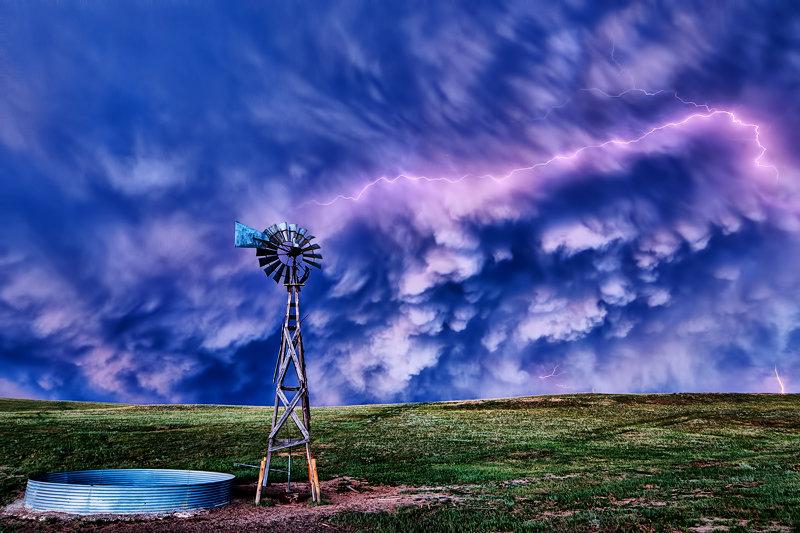 "12"" x 18"" METAL PRINT of Windmill Lightning, Colorado"