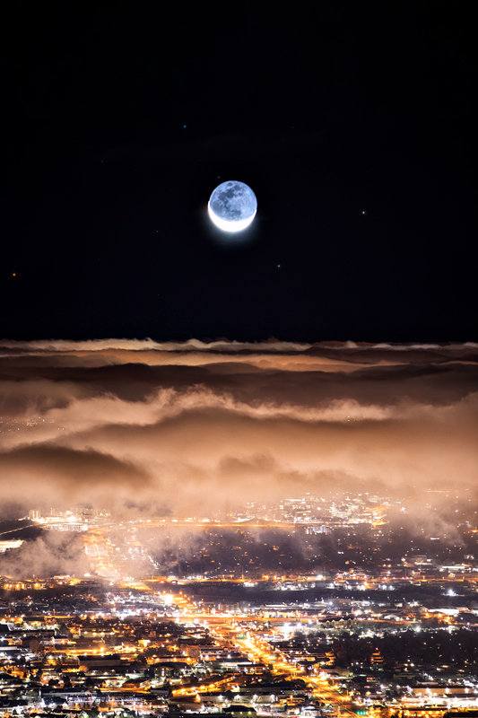"""24"""" x 36"""" Canvas Wrap of Colorado Springs Moonrise, Colorado"""