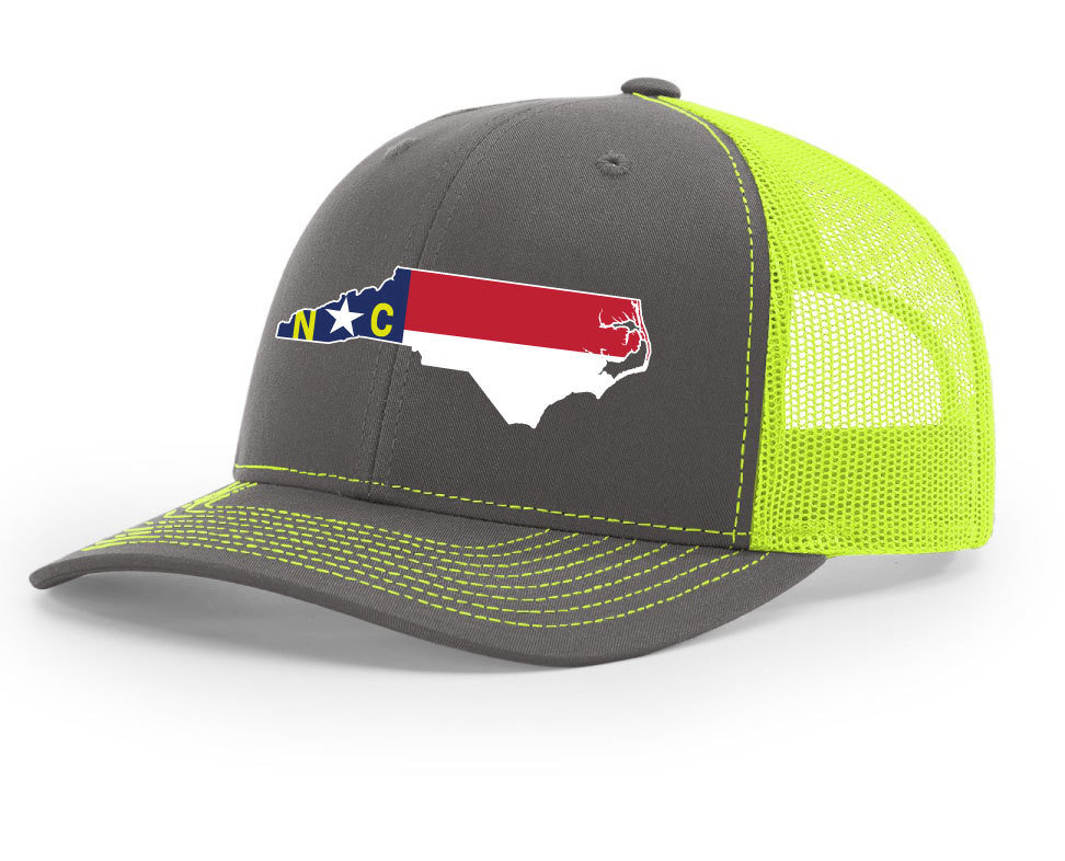North Carolina Hat/Richardson 112 TRUCKER/CHARCOAL-NEON YELLOW