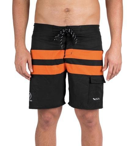 NEW-VAIKOBI PADDLE BOARD SHORTS- BLACK/ ORANGE 00200