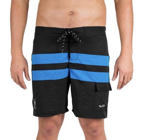 NEW-VAIKOBI PADDLE BOARD SHORTS- BLACK/ CYAN 00201