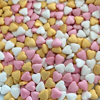 Gold Pink White Hearts