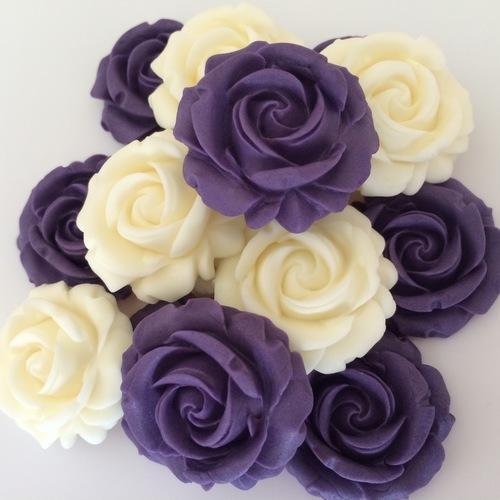 Purple Ivory Sugar Roses